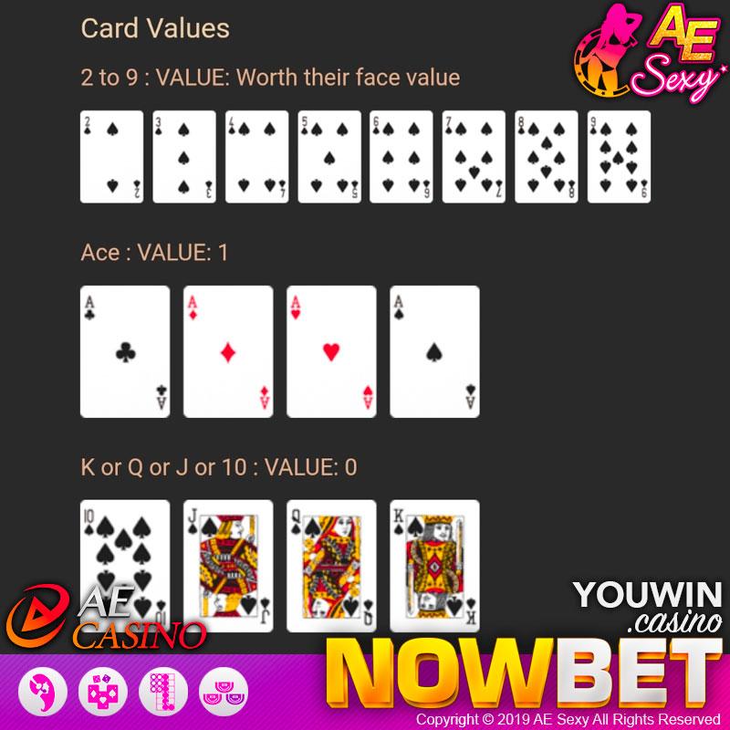 การนับแต้ม (Card Values) ของ Baccarat AE Sexy